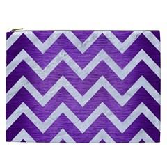 Chevron9 White Marble & Purple Brushed Metal Cosmetic Bag (xxl)
