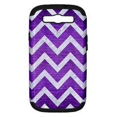 Chevron9 White Marble & Purple Brushed Metal Samsung Galaxy S Iii Hardshell Case (pc+silicone) by trendistuff