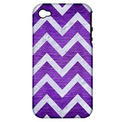 Chevron9 White Marble & Purple Brushed Metal Apple Iphone 4/4s Hardshell Case (pc+silicone)
