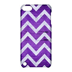 Chevron9 White Marble & Purple Brushed Metal Apple Ipod Touch 5 Hardshell Case With Stand by trendistuff