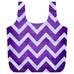 Chevron9 White Marble & Purple Brushed Metal Full Print Recycle Bags (l)