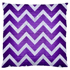 Chevron9 White Marble & Purple Brushed Metal Standard Flano Cushion Case (one Side)
