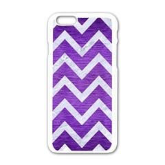 Chevron9 White Marble & Purple Brushed Metal Apple Iphone 6/6s White Enamel Case