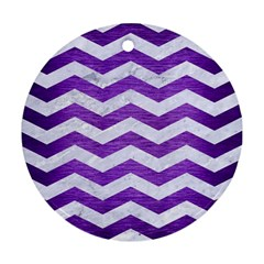 Chevron3 White Marble & Purple Brushed Metal Ornament (round)
