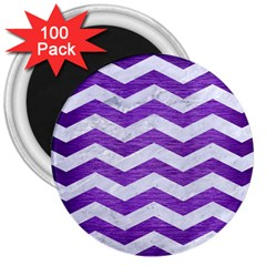 Chevron3 White Marble & Purple Brushed Metal 3  Magnets (100 Pack) by trendistuff
