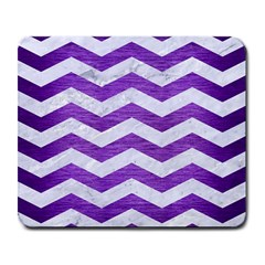 Chevron3 White Marble & Purple Brushed Metal Large Mousepads