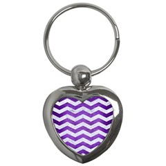 Chevron3 White Marble & Purple Brushed Metal Key Chains (heart)