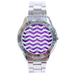 Chevron3 White Marble & Purple Brushed Metal Stainless Steel Analogue Watch by trendistuff