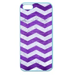 Chevron3 White Marble & Purple Brushed Metal Apple Seamless Iphone 5 Case (color)