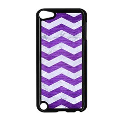 Chevron3 White Marble & Purple Brushed Metal Apple Ipod Touch 5 Case (black)