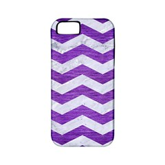 Chevron3 White Marble & Purple Brushed Metal Apple Iphone 5 Classic Hardshell Case (pc+silicone)