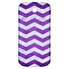 Chevron3 White Marble & Purple Brushed Metal Samsung Galaxy S3 S Iii Classic Hardshell Back Case