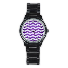 Chevron3 White Marble & Purple Brushed Metal Stainless Steel Round Watch