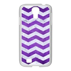 Chevron3 White Marble & Purple Brushed Metal Samsung Galaxy S4 I9500/ I9505 Case (white)