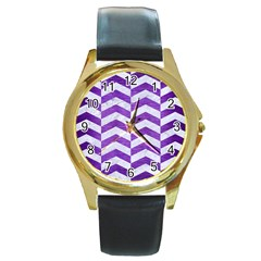 Chevron2 White Marble & Purple Brushed Metal Round Gold Metal Watch