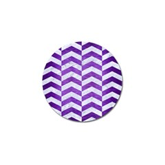 Chevron2 White Marble & Purple Brushed Metal Golf Ball Marker