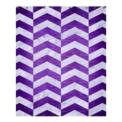Chevron2 White Marble & Purple Brushed Metal Shower Curtain 60  X 72  (medium)  by trendistuff