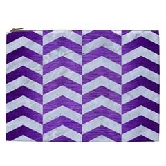 Chevron2 White Marble & Purple Brushed Metal Cosmetic Bag (xxl)