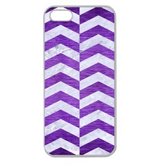 Chevron2 White Marble & Purple Brushed Metal Apple Seamless Iphone 5 Case (clear)