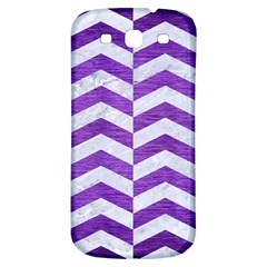 Chevron2 White Marble & Purple Brushed Metal Samsung Galaxy S3 S Iii Classic Hardshell Back Case by trendistuff