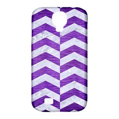 Chevron2 White Marble & Purple Brushed Metal Samsung Galaxy S4 Classic Hardshell Case (pc+silicone)