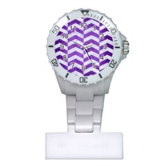 Chevron2 White Marble & Purple Brushed Metal Plastic Nurses Watch