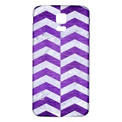 Chevron2 White Marble & Purple Brushed Metal Samsung Galaxy S5 Back Case (white)