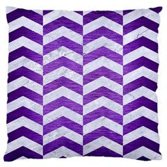 Chevron2 White Marble & Purple Brushed Metal Standard Flano Cushion Case (two Sides)