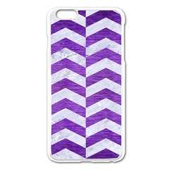 Chevron2 White Marble & Purple Brushed Metal Apple Iphone 6 Plus/6s Plus Enamel White Case