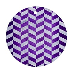 Chevron1 White Marble & Purple Brushed Metal Ornament (round)