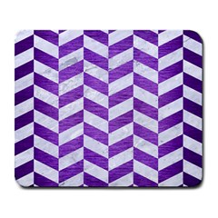 Chevron1 White Marble & Purple Brushed Metal Large Mousepads