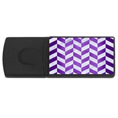 Chevron1 White Marble & Purple Brushed Metal Rectangular Usb Flash Drive