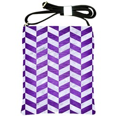 Chevron1 White Marble & Purple Brushed Metal Shoulder Sling Bags by trendistuff
