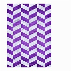 Chevron1 White Marble & Purple Brushed Metal Small Garden Flag (two Sides)