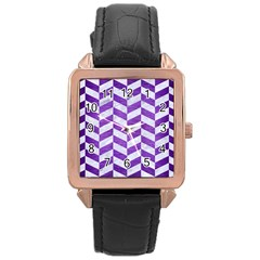Chevron1 White Marble & Purple Brushed Metal Rose Gold Leather Watch
