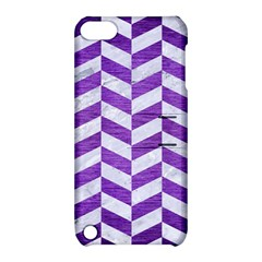 Chevron1 White Marble & Purple Brushed Metal Apple Ipod Touch 5 Hardshell Case With Stand