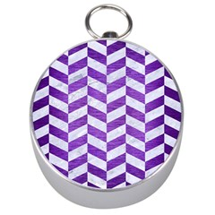 Chevron1 White Marble & Purple Brushed Metal Silver Compasses