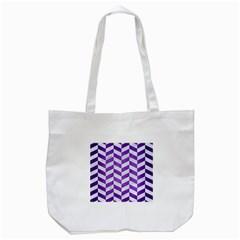 Chevron1 White Marble & Purple Brushed Metal Tote Bag (white)