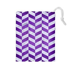 Chevron1 White Marble & Purple Brushed Metal Drawstring Pouches (large)