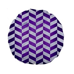 Chevron1 White Marble & Purple Brushed Metal Standard 15  Premium Flano Round Cushions