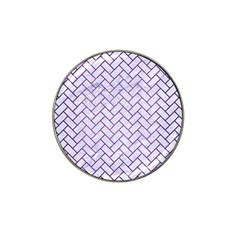 Brick2 White Marble & Purple Brushed Metal (r) Hat Clip Ball Marker (10 Pack)
