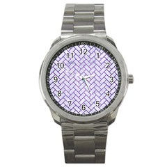 Brick2 White Marble & Purple Brushed Metal (r) Sport Metal Watch