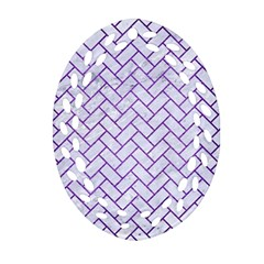 Brick2 White Marble & Purple Brushed Metal (r) Ornament (oval Filigree)