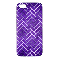 Brick2 White Marble & Purple Brushed Metal Iphone 5s/ Se Premium Hardshell Case by trendistuff