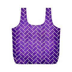 Brick2 White Marble & Purple Brushed Metal Full Print Recycle Bags (m)