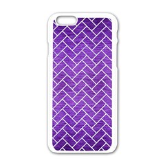 Brick2 White Marble & Purple Brushed Metal Apple Iphone 6/6s White Enamel Case