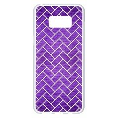 Brick2 White Marble & Purple Brushed Metal Samsung Galaxy S8 Plus White Seamless Case