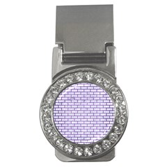 Brick1 White Marble & Purple Brushed Metal (r) Money Clips (cz)