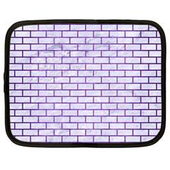 Brick1 White Marble & Purple Brushed Metal (r) Netbook Case (xxl)