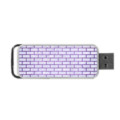 Brick1 White Marble & Purple Brushed Metal (r) Portable Usb Flash (two Sides)
